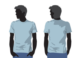 Men's t-shirt template with human body silhouette