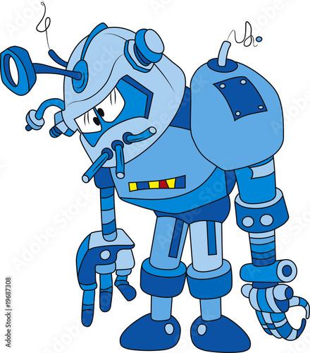 Vector illustration of broken blue robot character