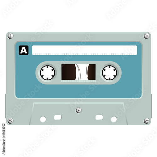 Audio cassette isolated over white background
