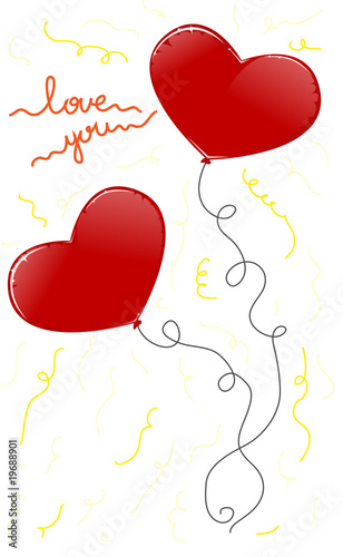 Two red heart baloons