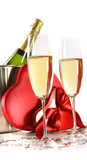 Champagne glasses with valentine gifts on white
