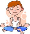 Illustration of boy relaxing yoga