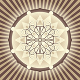 Tan and brown decorative medallion design. poster