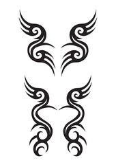 Tribal Tattoo Designs Isolated on White Background.