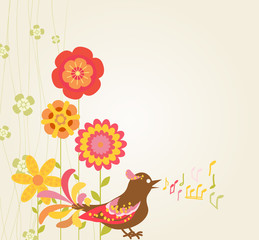 abstract backgrouns. retro flowers and bird