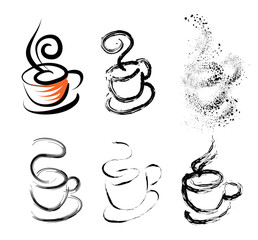 coffee cup illustration with variations