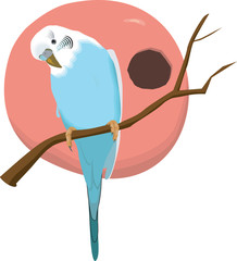 Illustration of a lovebird sitting in a branch of tree