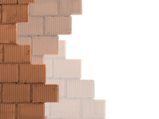 White background with bricks wall