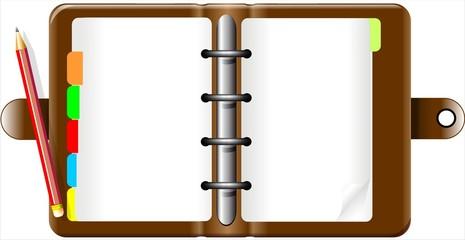 Agenda e Matita-Notebook and Pencil-Rubrica-Vector