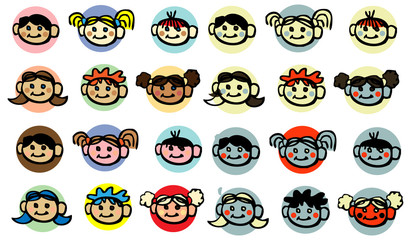 diversity Child, baby, kids face icons design elements