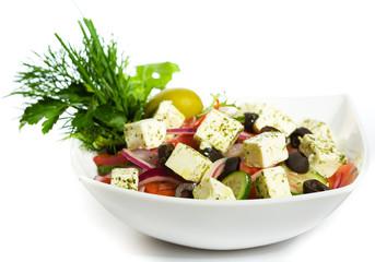Greek Salad in white plate