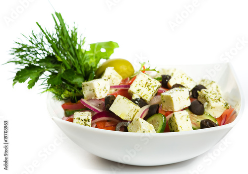 Greek Salad in white plate
