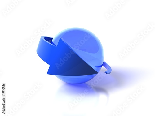 Blue arrow and sphere