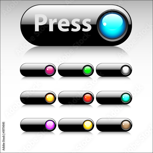 Collection of ten glossy buttons in various colors