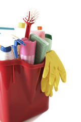 Cleaning tools in a bucket