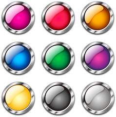 Nine glossy buttons in several colors