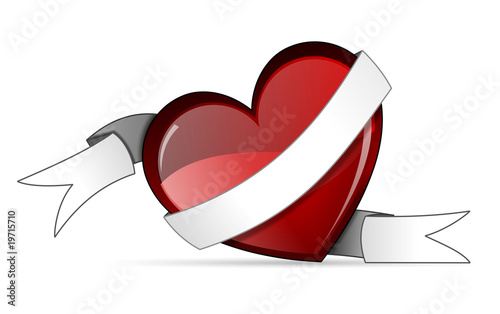 Love heart  with scroll