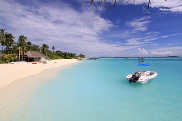 Barco en Velasaru Island, Maldivas