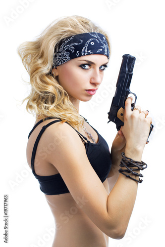 young sexy girl with gun