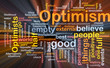 Optimism word cloud glowing