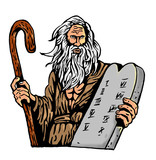 Moses Carrying The Ten Commandments On A Tablet poster