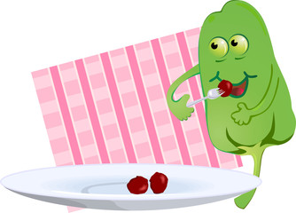 Illustration of comic capsicum plate with eating food
