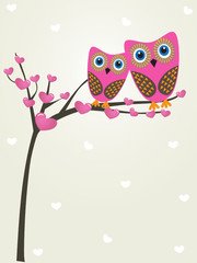 Owls couple in love. Valentine card