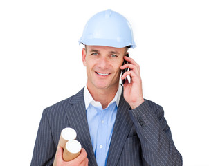 Assertive male engineer talking on phone