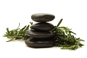 black stones with green leaves