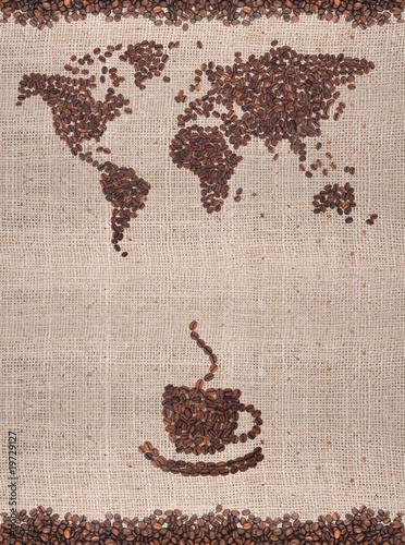 Fotobehang Cafe Coffee map
