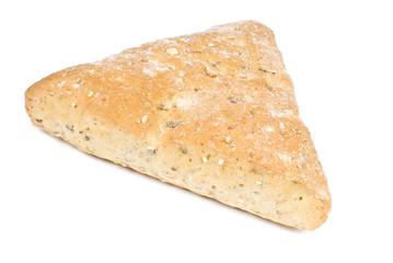 Multi-grain Focaccia Bread Isolated on White