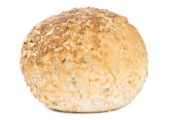 Multi-grain Dinner Roll Isolated on White