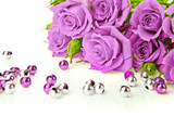 Fototapety Purple roses and beads