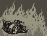 Rat rod on a background with flame. Vector illustration.