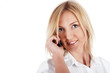 charming blonde businesswoman  in a white shirt with phone