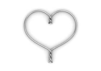 Wire heart (love, valentine day series; 3d isolated characters)