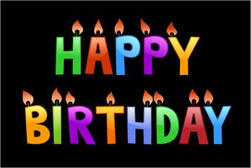 happy birthday letters balck background