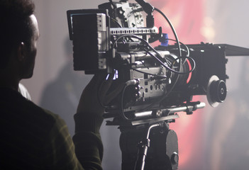 Digital cinema camera on a foggy/smoky movie set