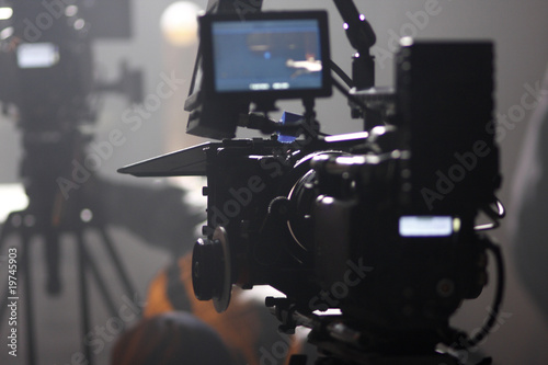 Digital cinema camera on a foggy/smoky movie set - 19745903