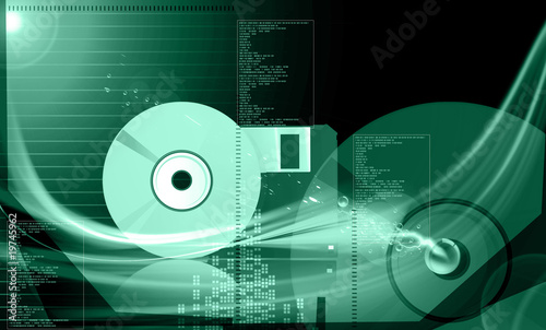 Illustration of a compact disc and floppy