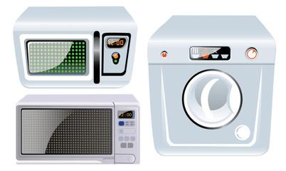 microwave, washer