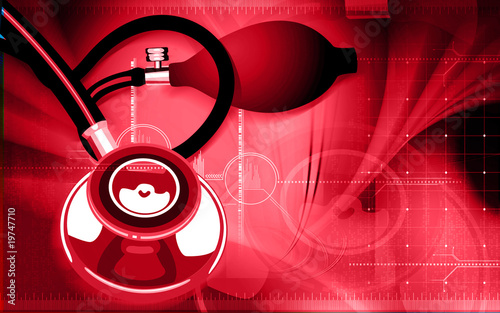 Illustration of a stethoscope in blue background