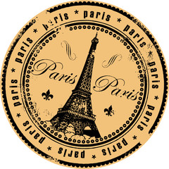 Grunge rubber stamp with the Eiffel Tower symbol