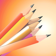 Illustration of Colourful Pencils with sharp lead
