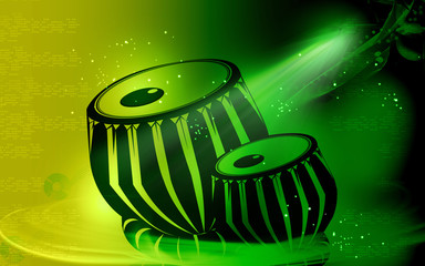 tabla, an Indian music instrument with music notes