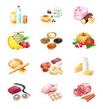Fototapety Colorful isolated raw and prepared food ingredient icons