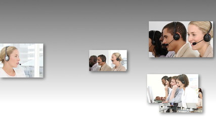 Collage of HDvideo footage of a business call centre