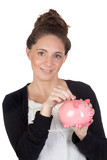 Attractive girl with money box insert coin poster