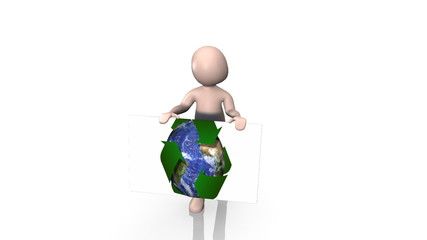 3d Man showing recycling symbol