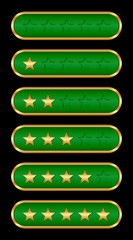 Gold stars (green background)